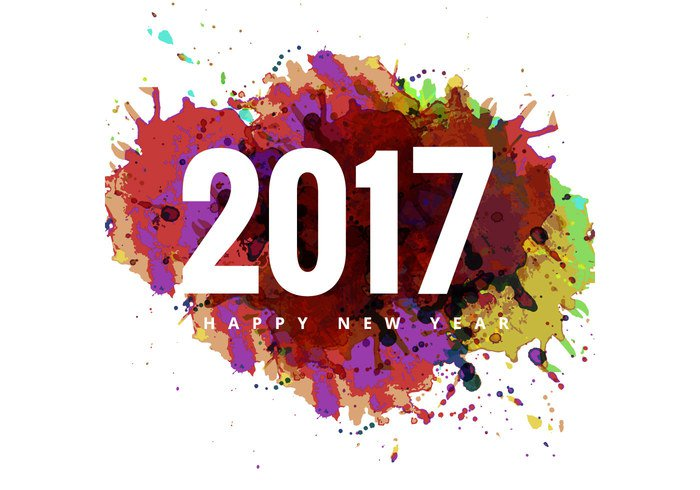 Vector colorful grunge on 2017 happy new year card
