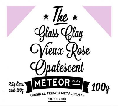 Glass clay Opalescente - Vieux rose- 100g